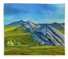 Mountain Landscape Digital Art Fleece Blanket