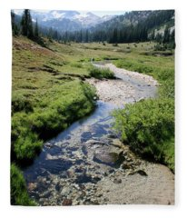 Mountain Meadow And Stream Fleece Blanket