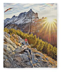 Mountain Of The Lord Fleece Blanket
