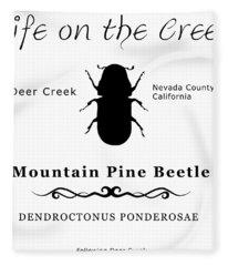 Mountain Pine Beetle Black On White Fleece Blanket