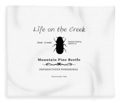 Mountain Pine Beetle Black On White Fleece Blanket