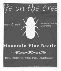 Mountain Pine Beetle White On Black Fleece Blanket