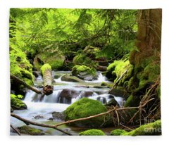 Mountain Stream In The Pacific Northwest Fleece Blanket
