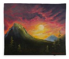 Mountain Sunset Fleece Blanket