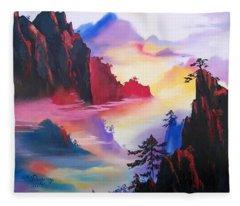 Mountain Top Sunrise Fleece Blanket