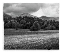 Mountain Wildflowers In Black And White Fleece Blanket