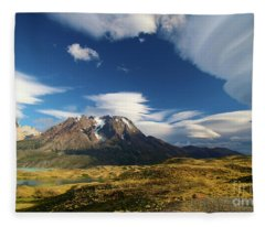 Mountains And Clouds In Patagonia Fleece Blanket