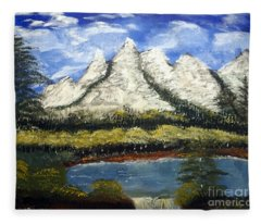 Mountains And Evergreens Fleece Blanket