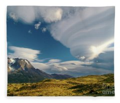 Mountains And Lenticular Cloud In Patagonia Fleece Blanket