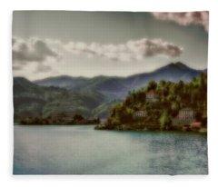 Mountains View At Lago D'orta Fleece Blanket