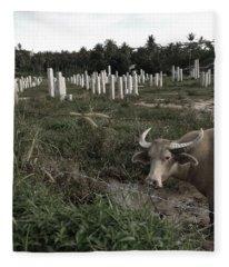 Mourning In The Palm-tree Graveyard Fleece Blanket