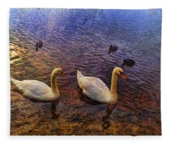 Mr And Mrs Swan Go Viisiting Fleece Blanket