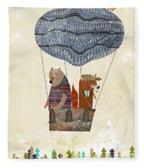 Mr Fox And Bears Adventure  Fleece Blanket