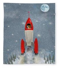 Mr Fox Goes To The Moon Fleece Blanket