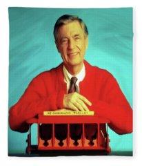 Mr Rogers With Trolley Fleece Blanket