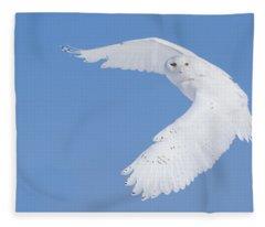 Mr Snowy Owl Fleece Blanket