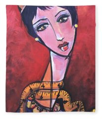 Ms. Bimba Fashionable Seamstress Fleece Blanket