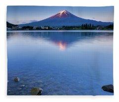 Mt Fuji - First Light Fleece Blanket