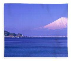 Mt Fuji Kanagawa Japan Fleece Blanket