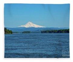 Mt. Hood Above The Columbia River Fleece Blanket