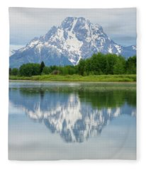 Mt Moran In Grand Teton National Park Reflection Fleece Blanket