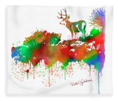 Mule Deer Buck Skyline Drip Pop Art II Fleece Blanket