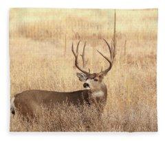 Muledeerbuck2 Fleece Blanket