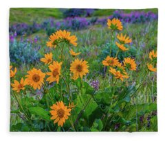 Mule's Ear And Lupine Fleece Blanket