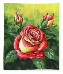 Multi Coloured Rose Sketch Fleece Blanket