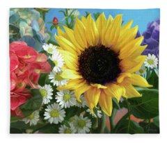 Multicolor Flowers Fleece Blanket