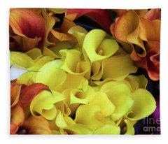 Multicolored Calla Lillies Fleece Blanket