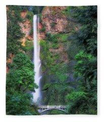 Multnomah Falls Portland Oregon Fleece Blanket