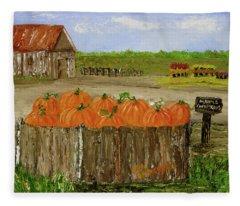 Mum And Pumpkin Harvest Fleece Blanket