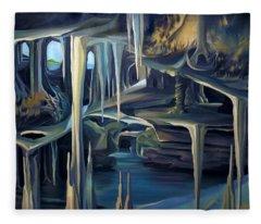 Mural Ice Monks In November Fleece Blanket