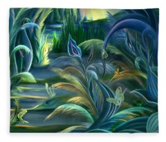 Mural  Insects Of Enchanted Stream Fleece Blanket