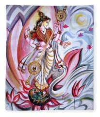 Musical Goddess Saraswati - Healing Art Fleece Blanket