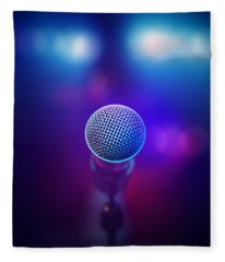 Musical Microphone On Stage Fleece Blanket