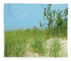Muskegon Dunes Lighthouse In Michigan Fleece Blanket