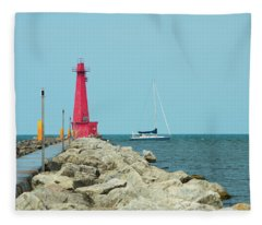 Muskegon Lighthouse And Sailboat In Michigan Fleece Blanket