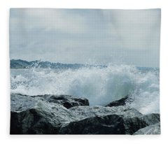 Muskegon Michigan Jetty Rocks Fleece Blanket