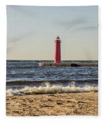 Muskegon South Pierhead Light Fleece Blanket