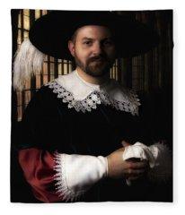 Musketeer In The Old Castle Hall Fleece Blanket