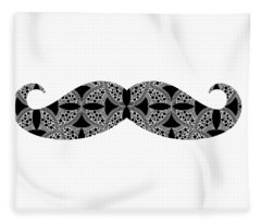 Fleece Blanket featuring the digital art Mustache Tee by Edward Fielding