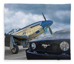 Mustang Gt With P51 Fleece Blanket