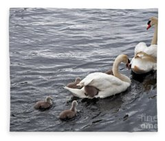 Mute Swans Fleece Blanket