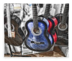Muted Guitars Fleece Blanket