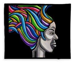 Abstract Female Face Artwork - My Attitude Fleece Blanket