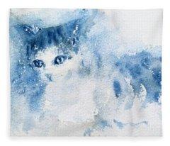 My Blue Cat Fleece Blanket
