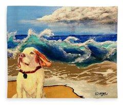 My Dog And The Sea #1 - Beagle Fleece Blanket