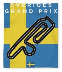 My F1 Anderstorp Race Track Minimal Poster Fleece Blanket